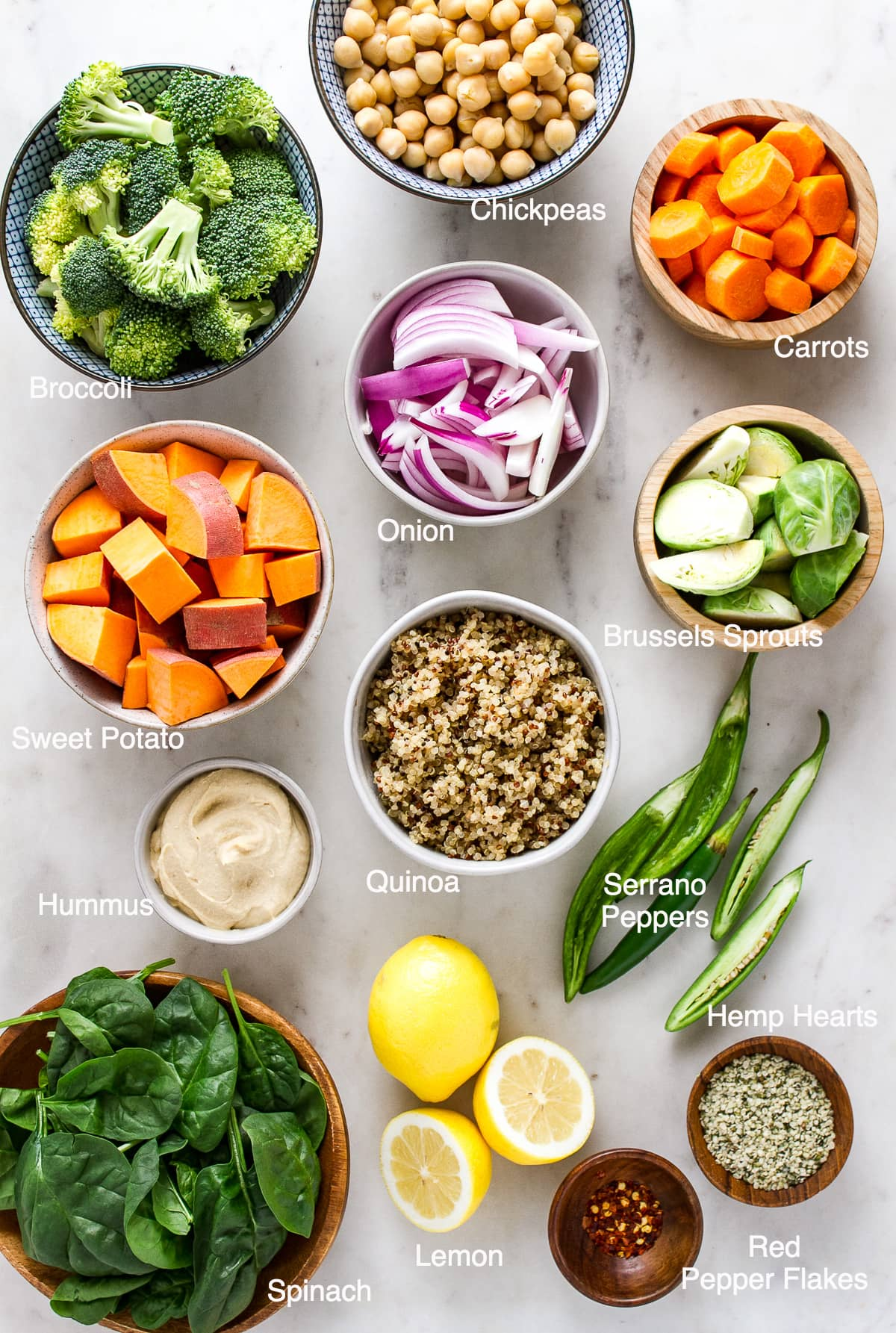 top down view of the ingredients needed to make roasted nourish bowl.