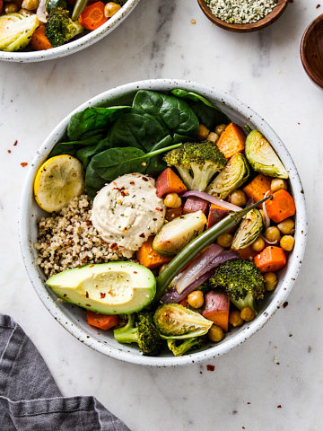 top down view of freshly made roasted nourish bowl.