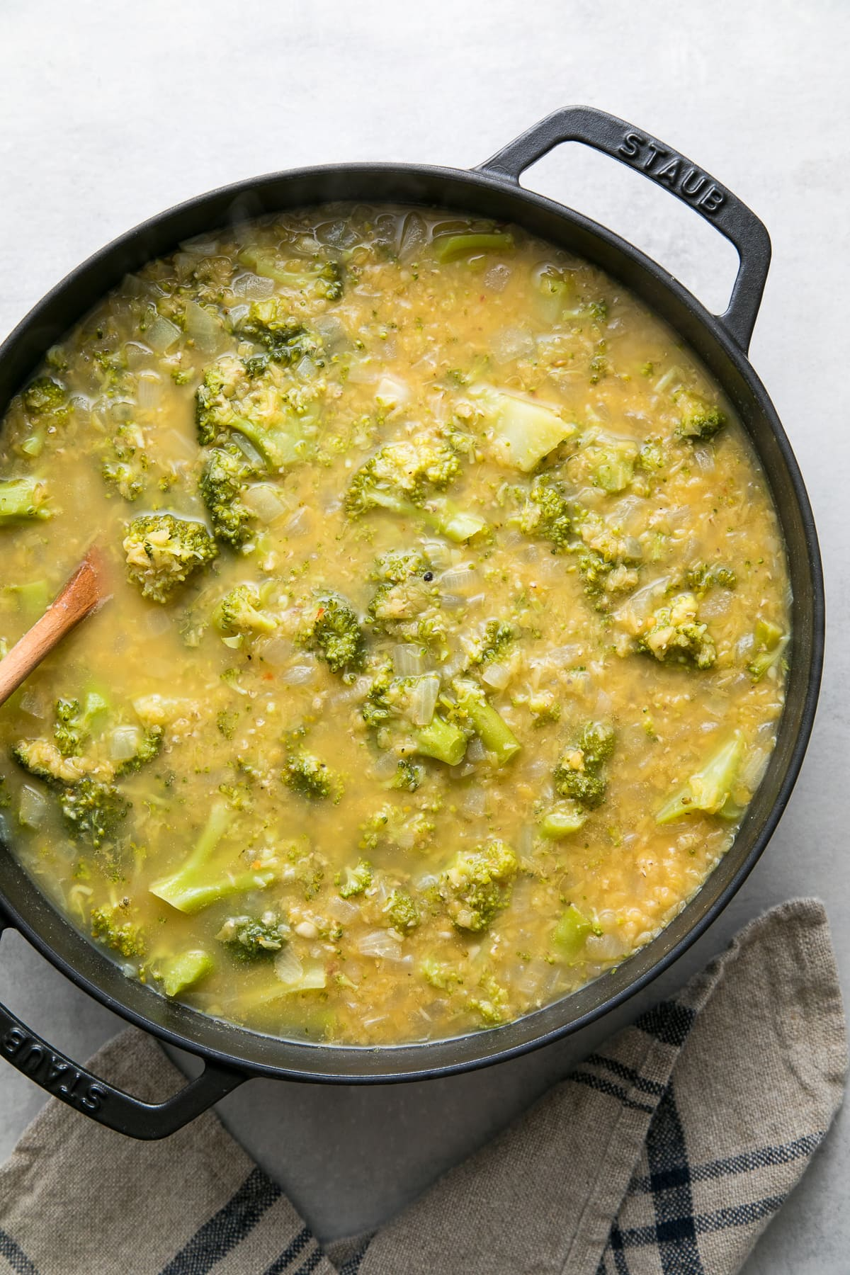 top down view of broccoli red lentil soup finished simmering.