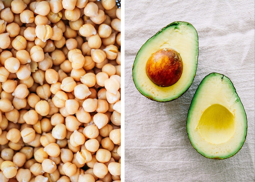 side by side photos of close up of cooked chickpeas, next to avocado sliced in half.