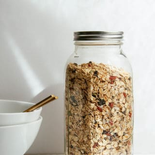 muesli in a large ball jar