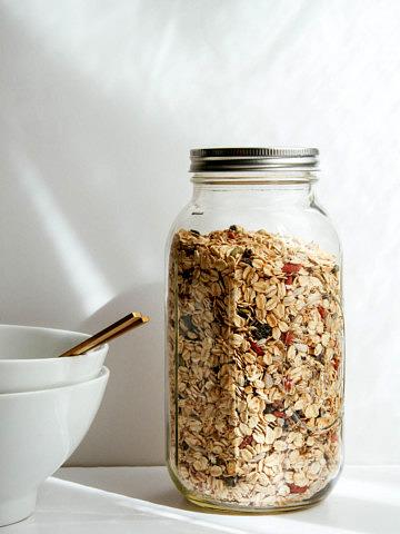 muesli in a large ball jar