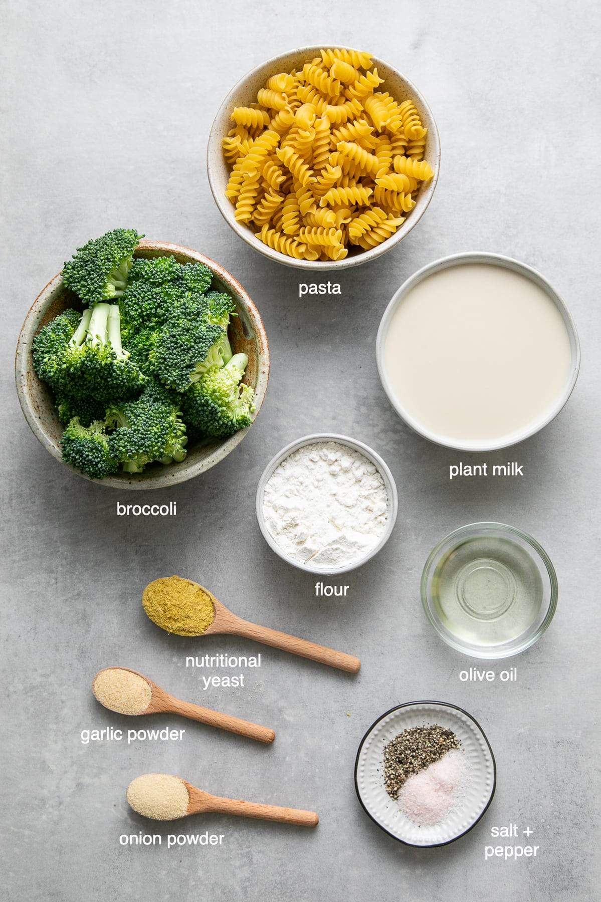 top down view of ingredients used to make vegan creamy broccoli pasta recipe.