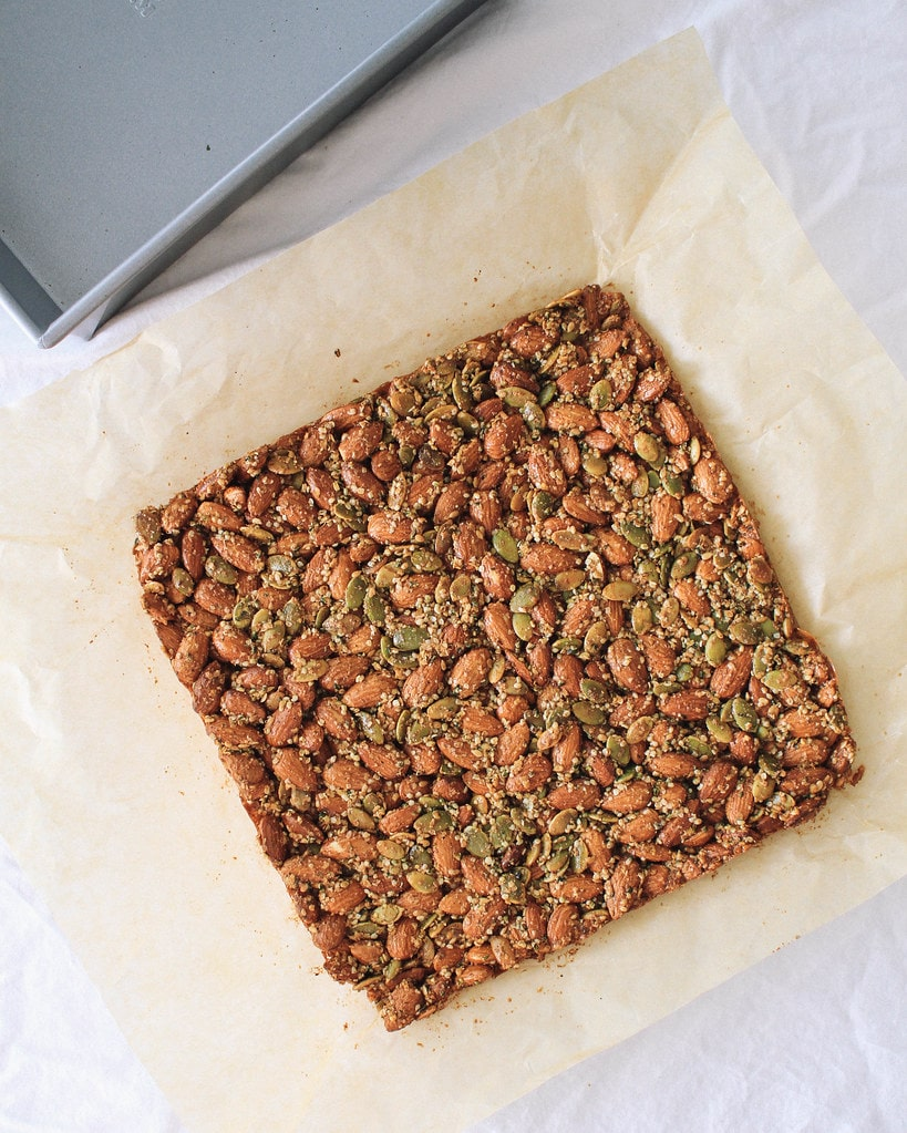 spicy nut and seed bar finished hardening and pulled out of the pan.