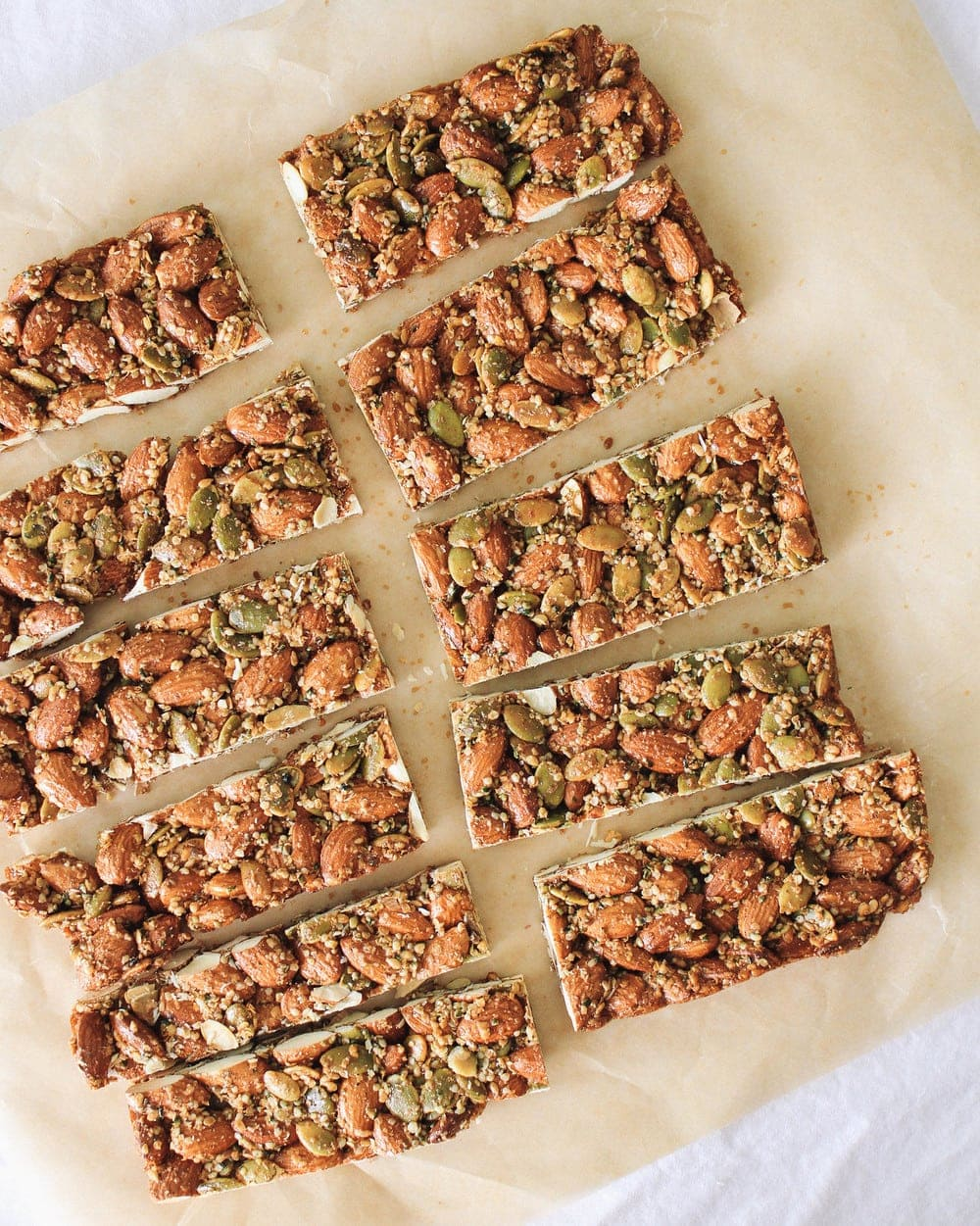 spicy nut and seed bar sliced on a piece of parchment paper