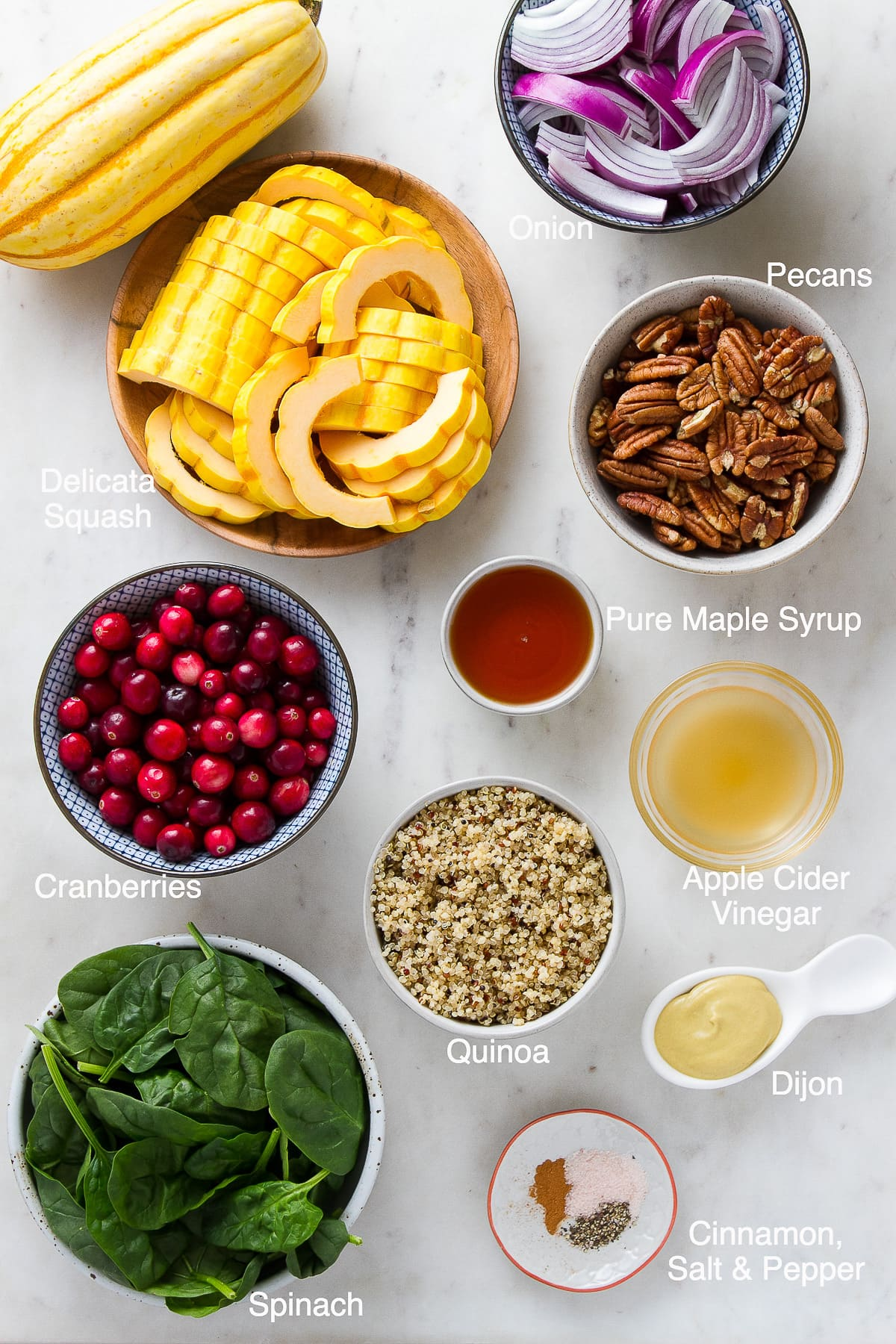 top down view of ingredients used to make delicata squash salad recipe.