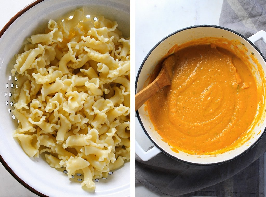 side by side photos of cooked pasta and freshly made pot of pureed creamy butternut squash pasta sauce.