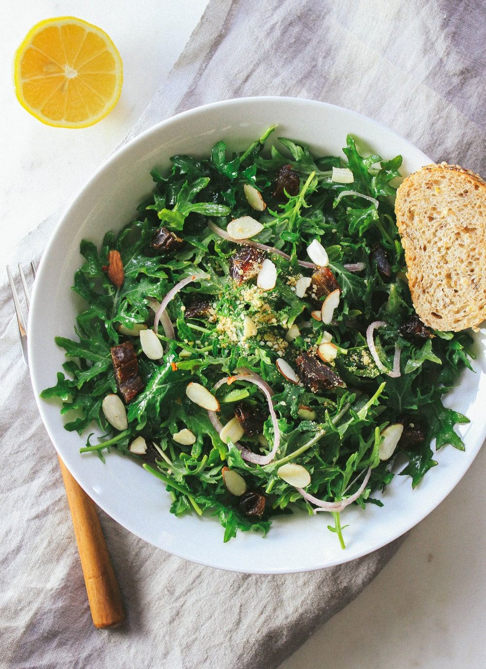 KALE, DATE & ALMOND SALAD + LEMON DRESSING