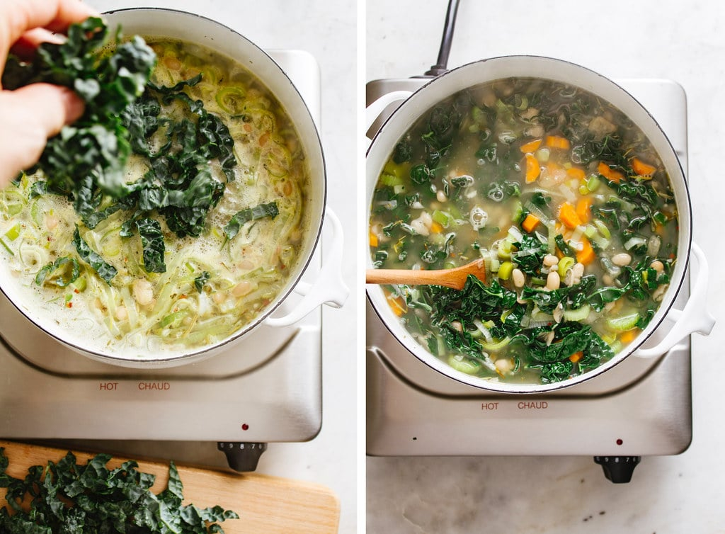side by side photos of the process of adding freshly chopped kale to the pot making lemony kale and white bean soup with leeks.