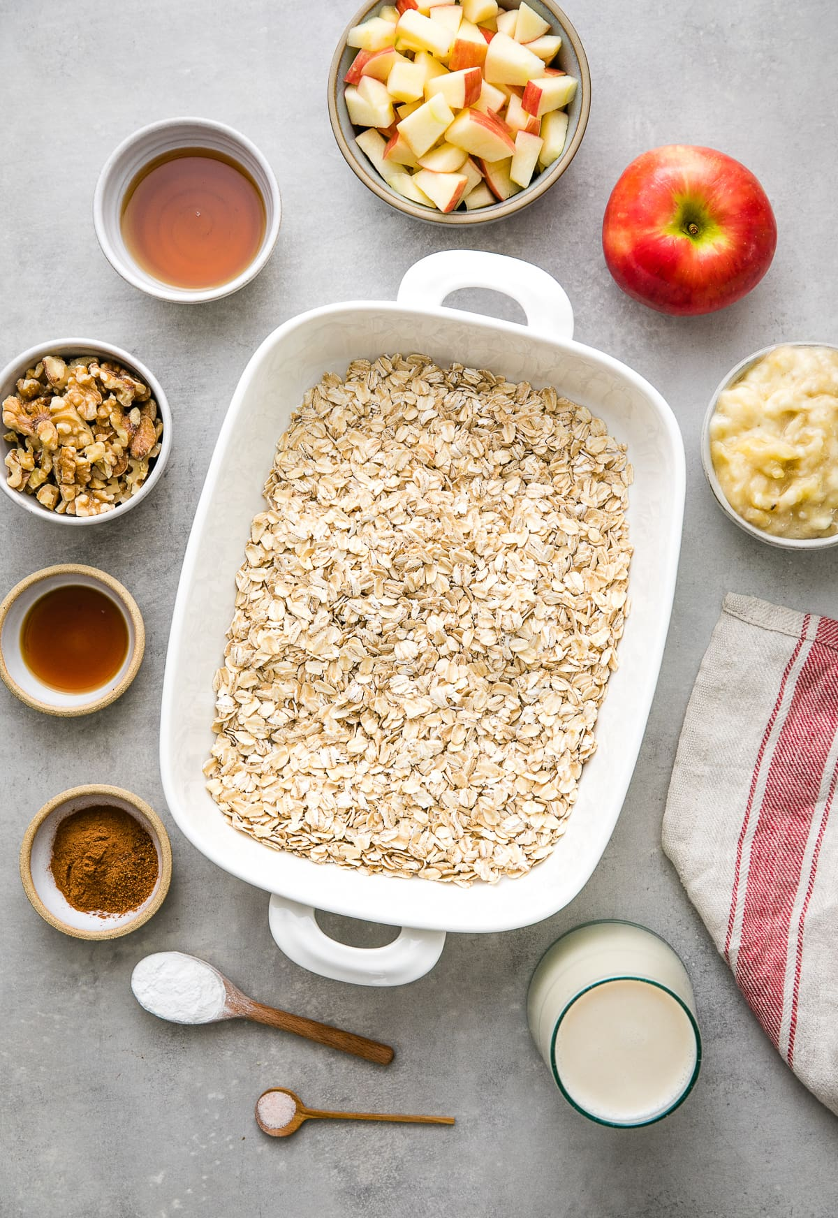 top down view of ingredients used to make the best healthy apple baked oatmeal.