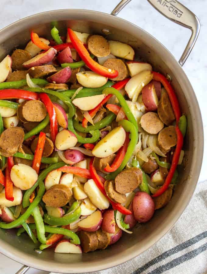 5-INGREDIENT KIELBASA with PEPPERS & POTATOES