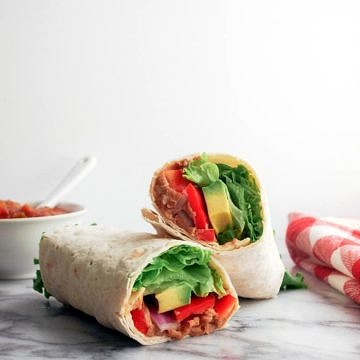 refried bean avocado lavash wrap