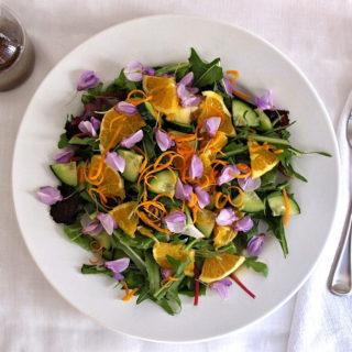 Spring-Salad-Edible-Flowers-Dandelion-Greens