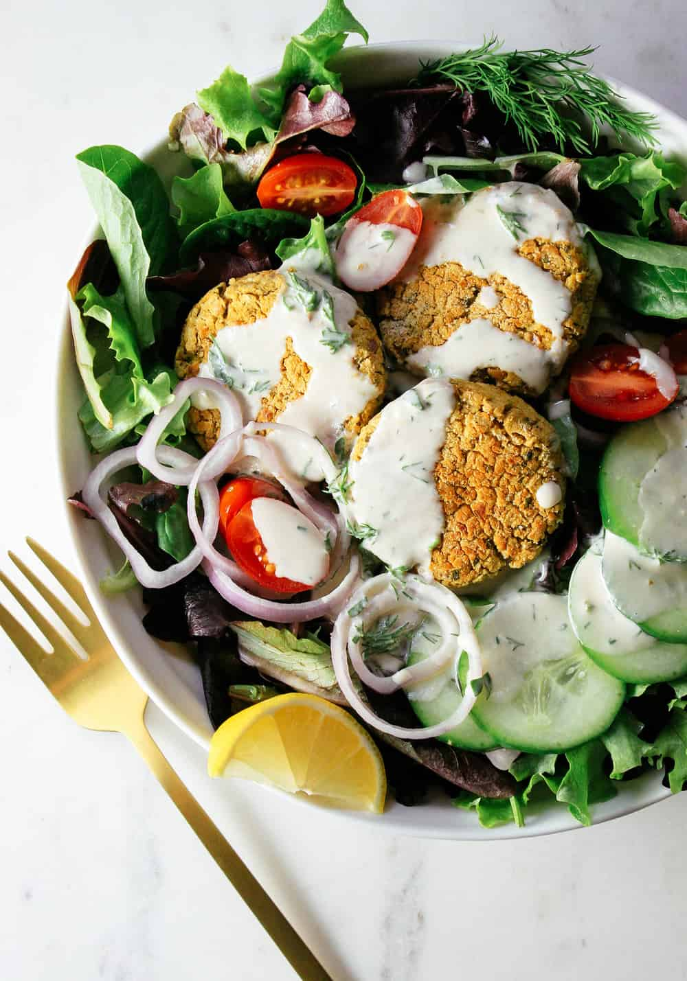 baked-falafel-salad-two-creamy-dressing