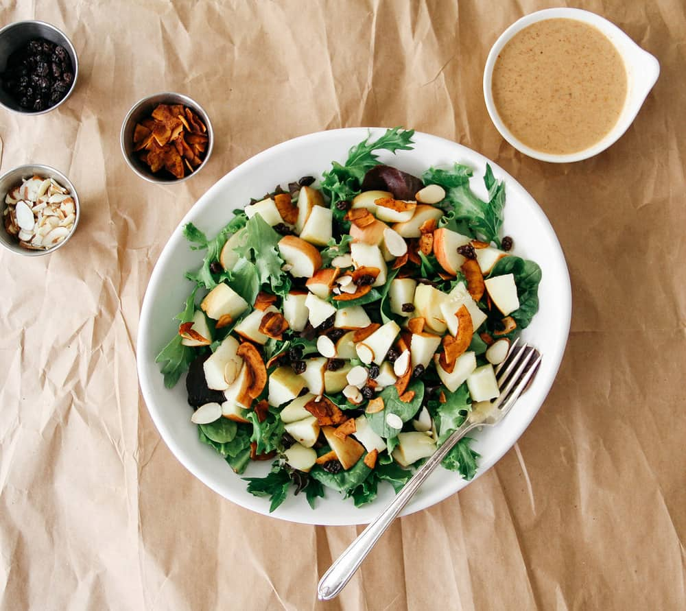 crisp apple coconut bacon salad