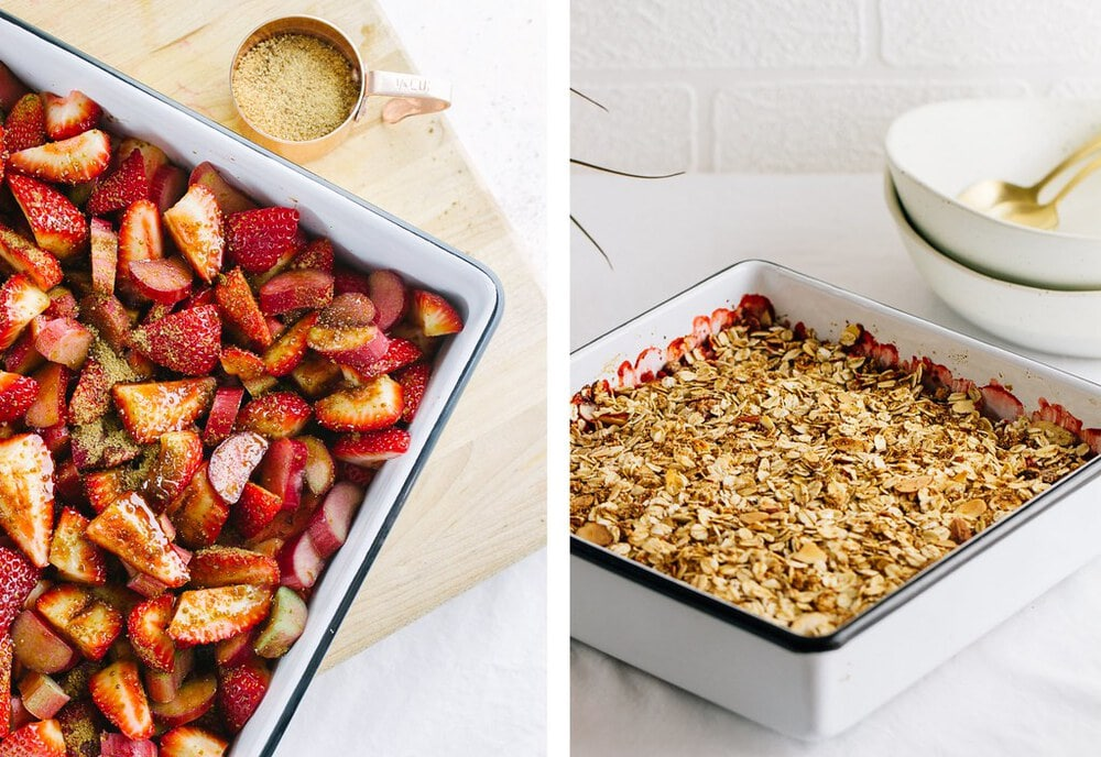 side by side pictures of the process of adding fruit and sugar to pan and topping with oatmeal mixture before baking.