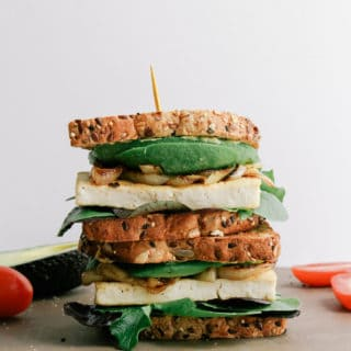 TOASTED AVOCADO-TOFU SANDWICH + CARAMELIZED ONIONS
