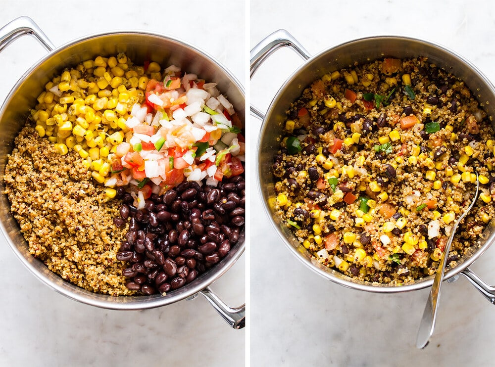 side by side photo of the process of making the tex-mex quinoa in a pot.