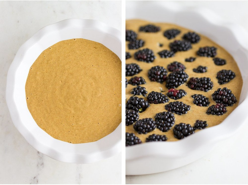 side by side process shots of batter added to a white baking dish and topped with blackberries.