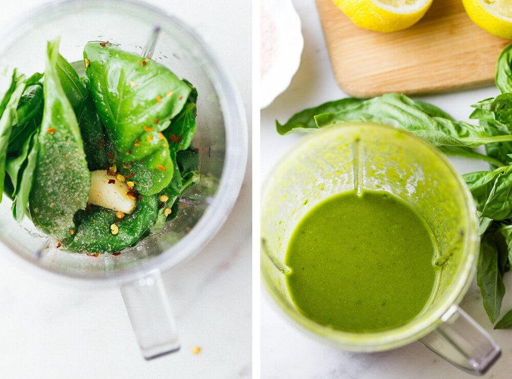 side by side picture of the process of making lemon basil vinaigrette in a small personal blender.