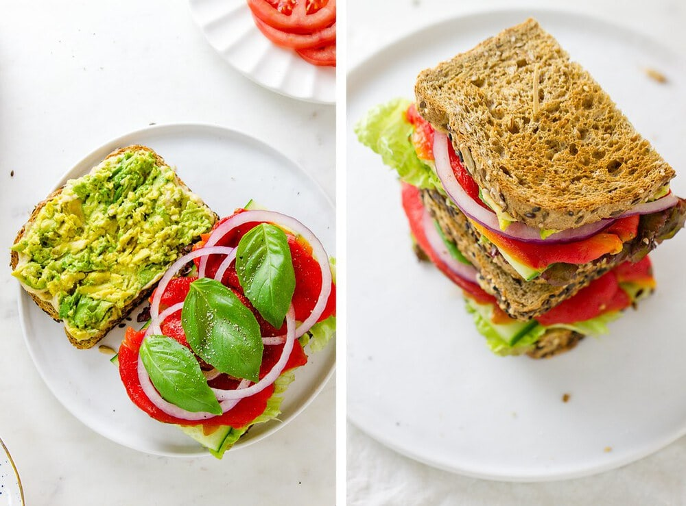 side by side photos of layered and piled high roasted red pepper, hummus and avocado sandwich.