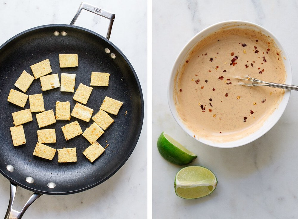 side by side picture of crispy tofu in a pan, next to peanut dressing for the thai zucchini noodle salad.