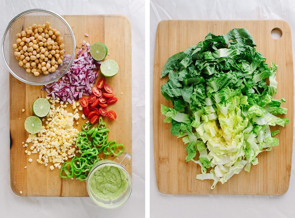 top down, side by side pictures of the prepped ingredients for southwest chickpea salad.