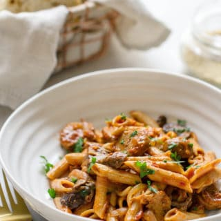 ONE-POT PENNE PASTA W/ MUSHROOMS + SAUSAGE