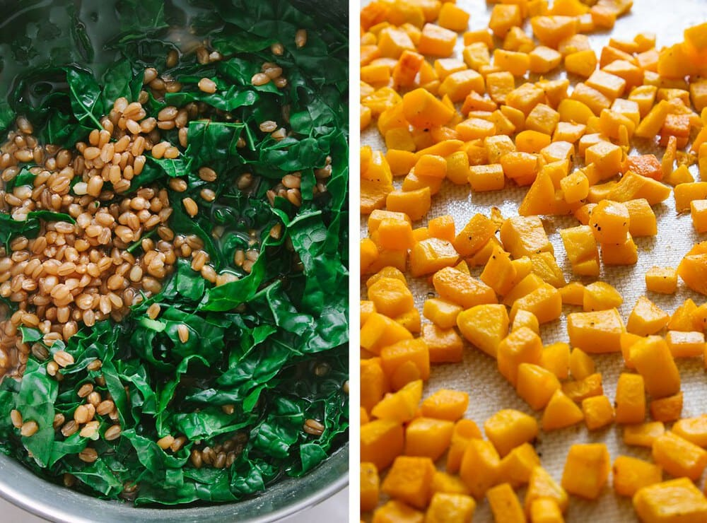 side by side pictures of the process of cooking the wheat berries and roasting the butternut squash.