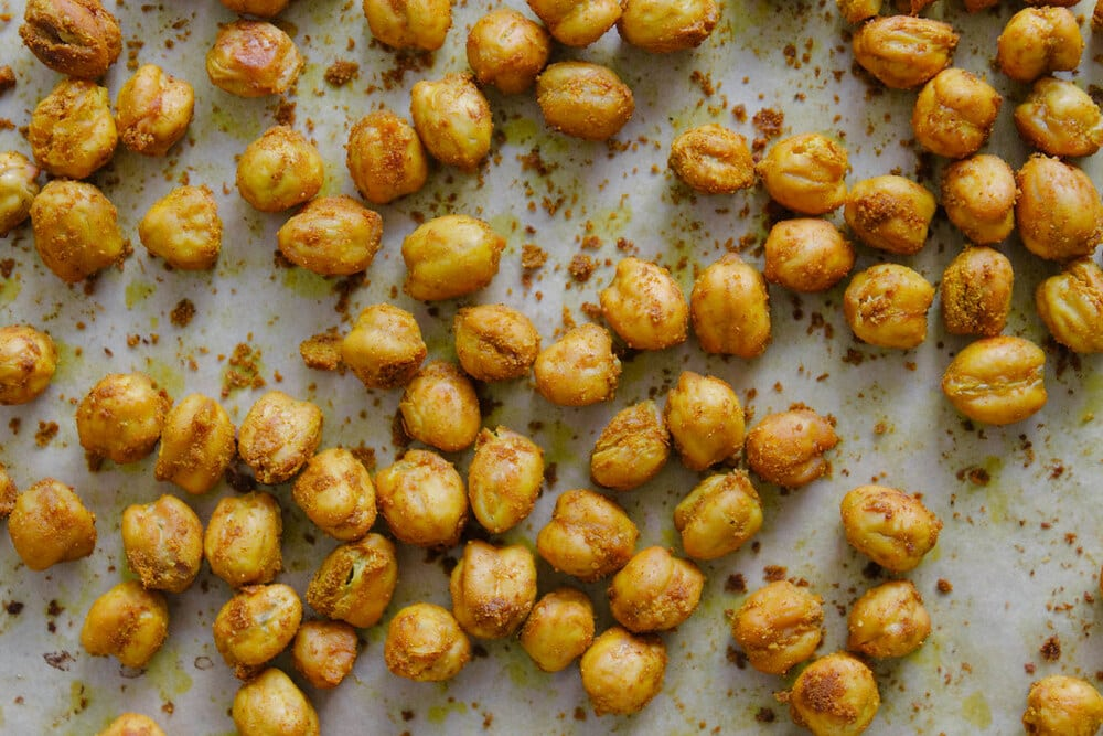 top down view of turmeric roasted chickpeas.