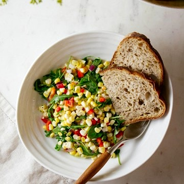 SWEET CORN + ARUGULA SALAD