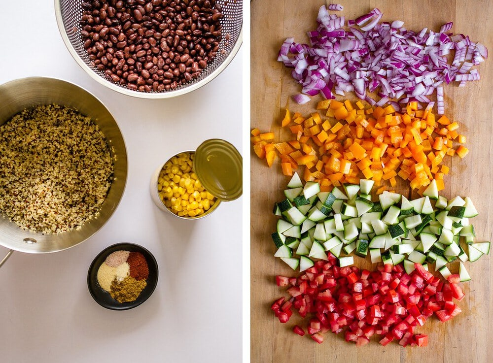 side by side photos of the ingredients needed to make freezer friendly vegan quinoa black bean burritos