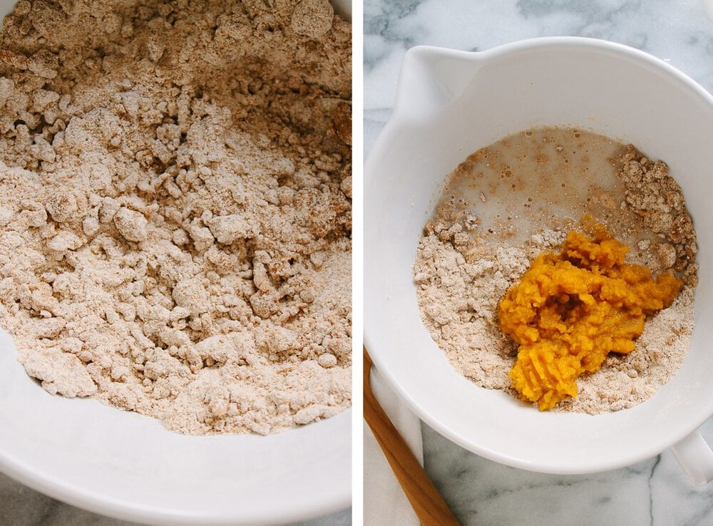 side by side photo of the process of making vegan pumpkin scone dough.