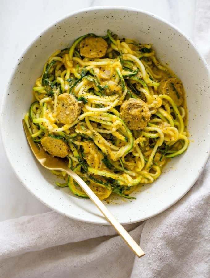 quick-n-healthy-creamy-pumpkin-sauce-kale-sausage-zucchini-noodles