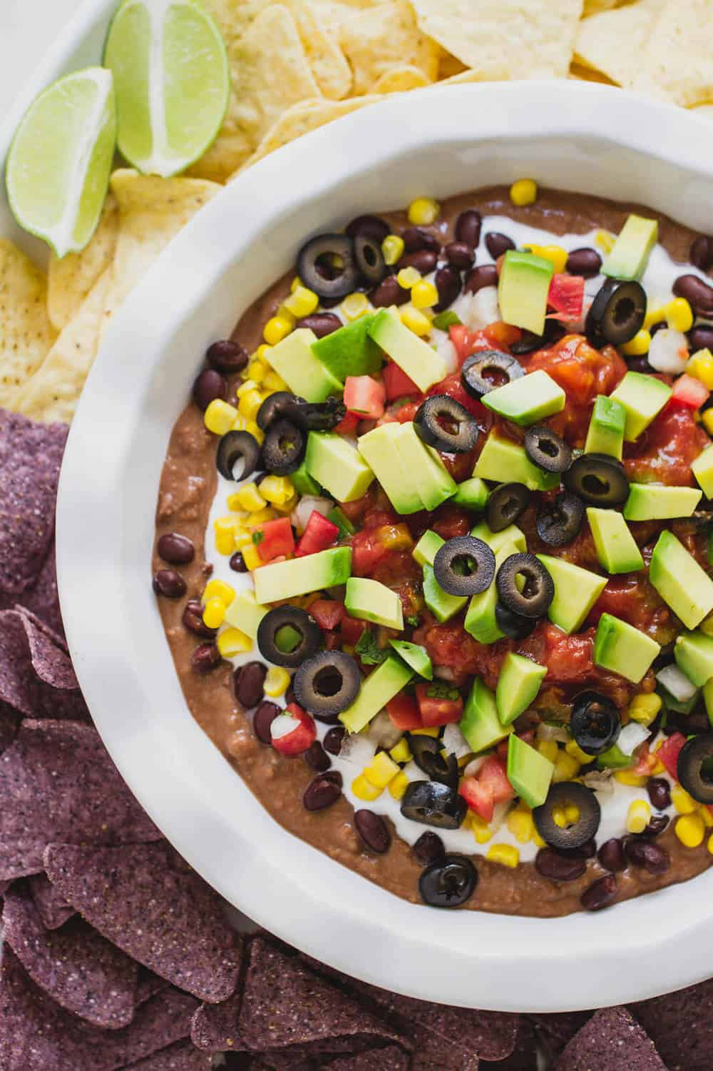 7 layer mexican bean dip with chips