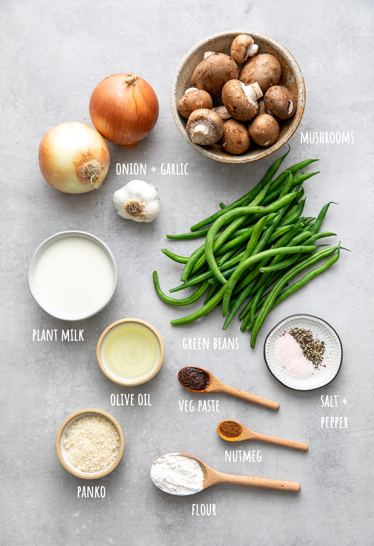 top down view of ingredients used to make healthy vegan green bean casserole.