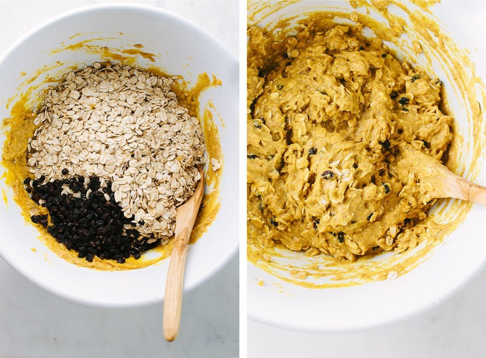 top down, side by side view of pumpkin oat muffin batter with oats and currents added, next to the batter finalized and ready for the muffin tin