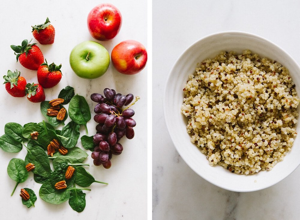 side by side photos of ingredients used to make strawberry, apple, quinoa and spinach salad.