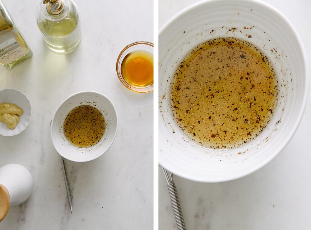 side by side photo showing the ingredients for spinach salad dressing.