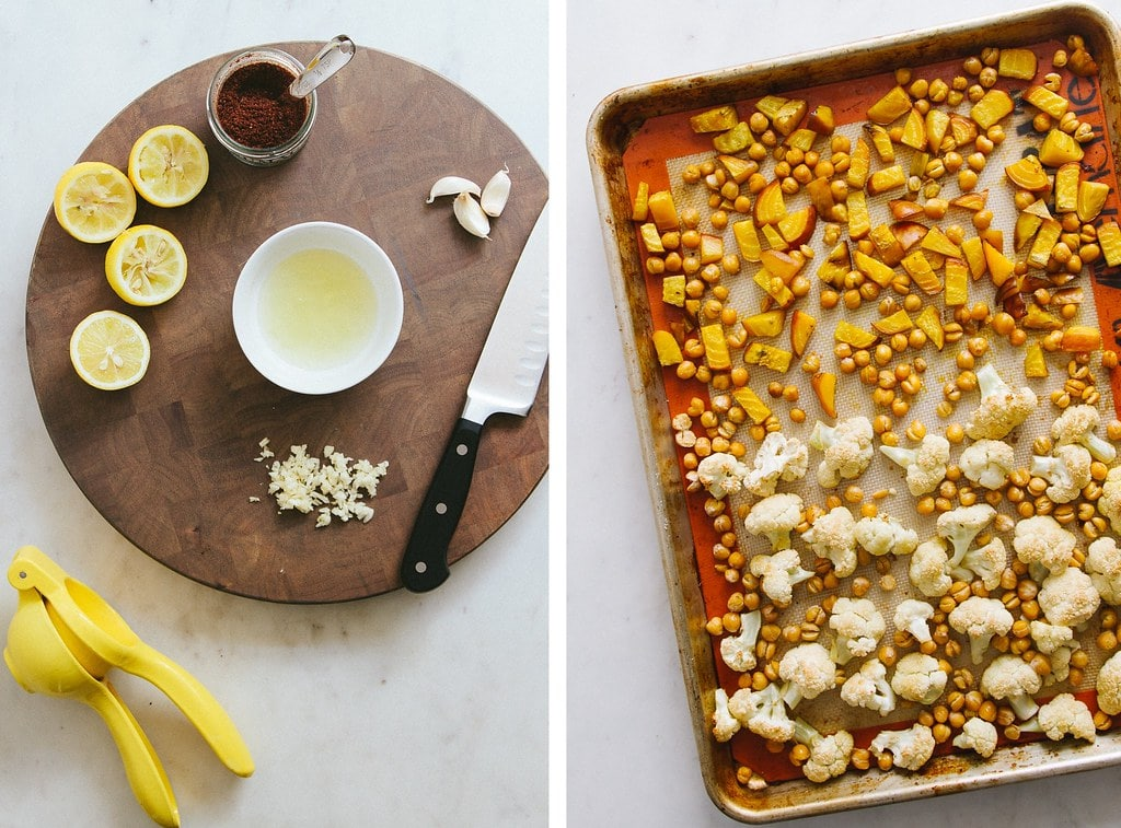 side by side photos showing the process of making roasted cauliflower, golden beet and chickpea salad.