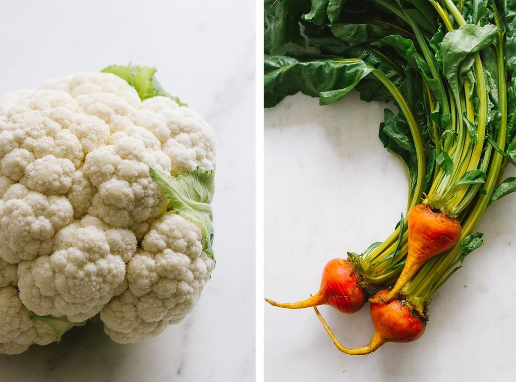 side by side photos of head of cauliflower and golden beets.