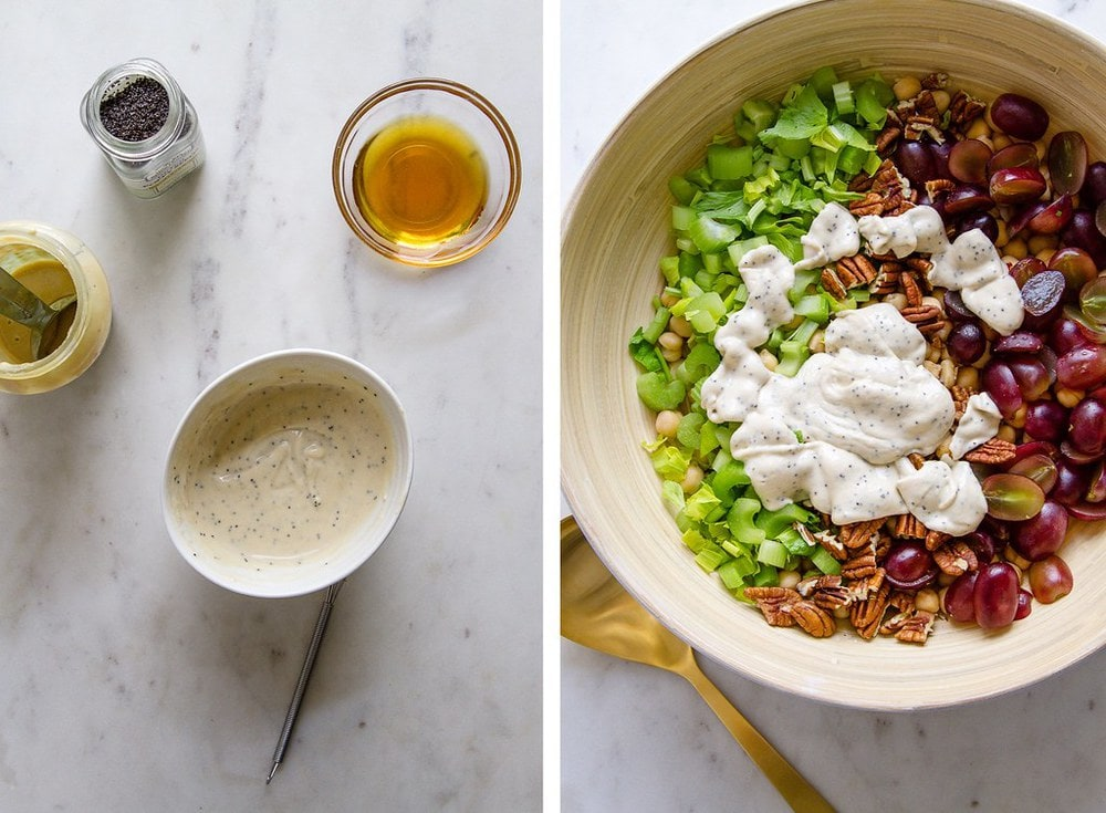 side by side photo of sweet tahini dressing mixed in a small white bowl, next to a pic with a large bowl with all ingredients added for sonoma chickpea salad before mixing.