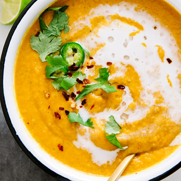 golden curry sweet potato + red lentil soup ready to eat
