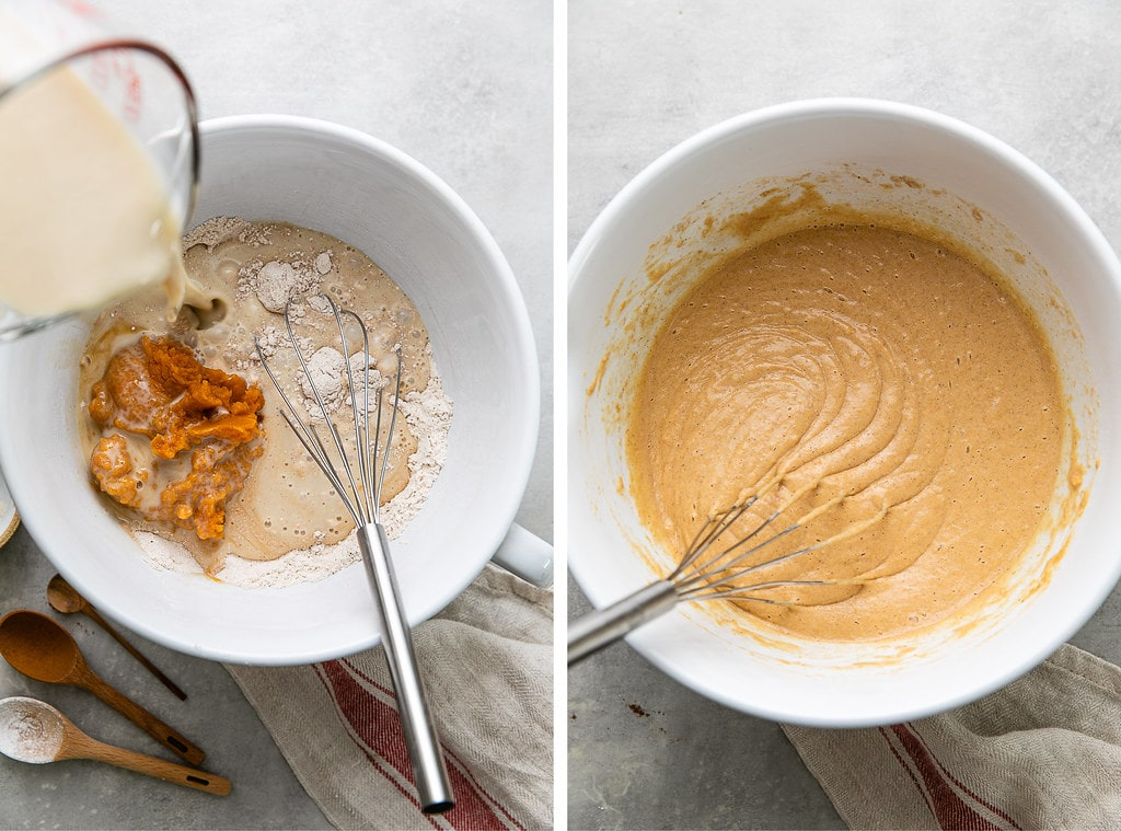 side by side photos showing the process of making pumpkin pancake batter.