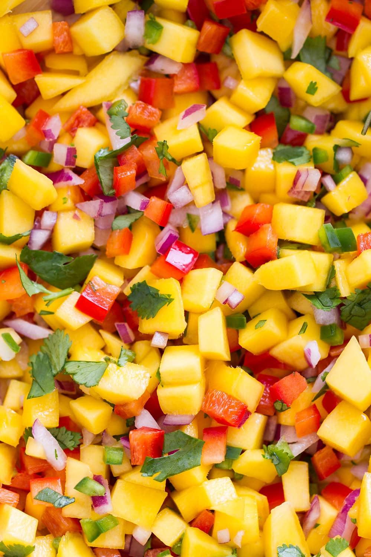 up close, top down view of mango salad