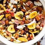 healthy everything trail mix with mixed dried fruits and nuts
