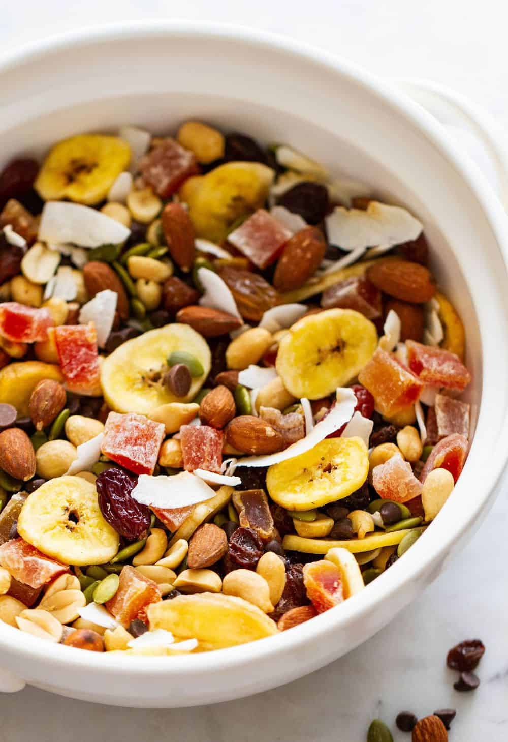 healthy almost-everything trail mix with mixed dried fruits and nuts
