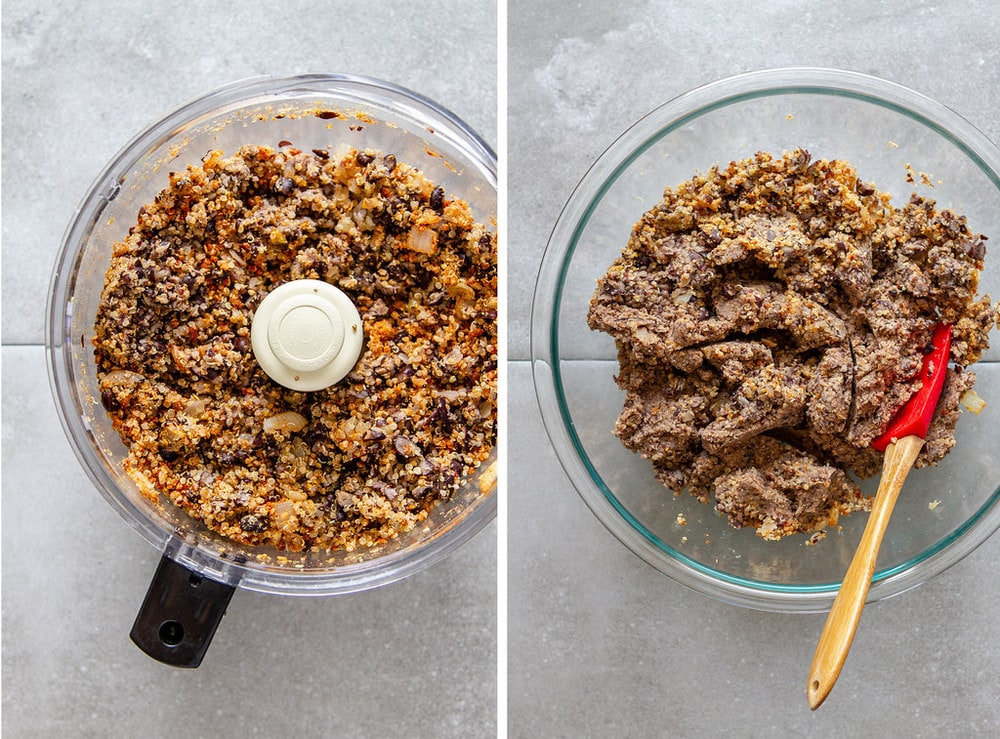 side by side photos of the process of making black bean burger mix.