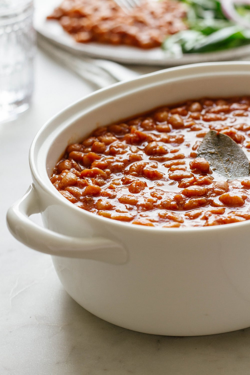 freshly baked beans in a serving dish