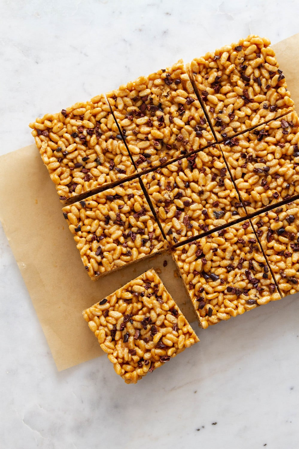 top down view of peanut butter cacao nibs rice crispy treats